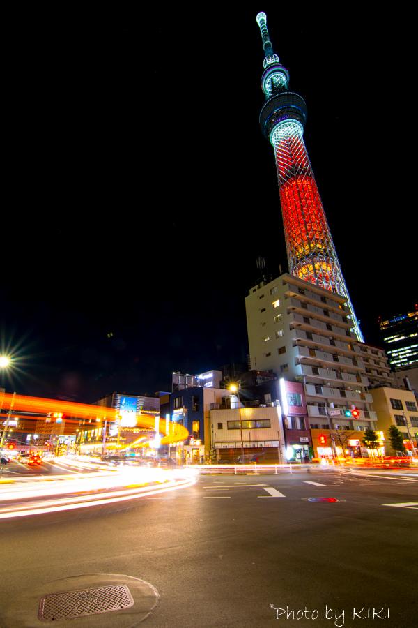 東京スカイツリー長時間露光で軌跡を撮影してみました