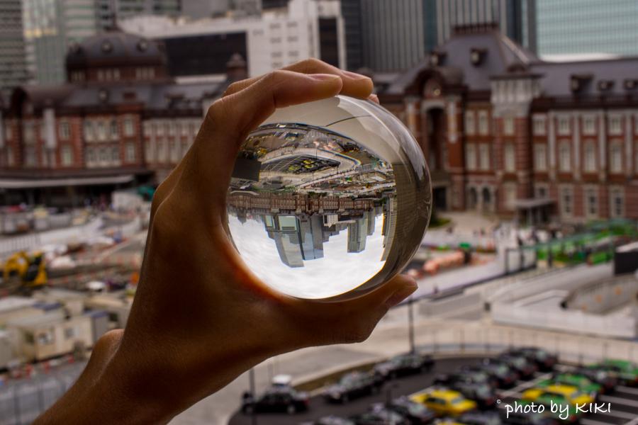 水晶玉を使用して東京駅を撮影をしてみました