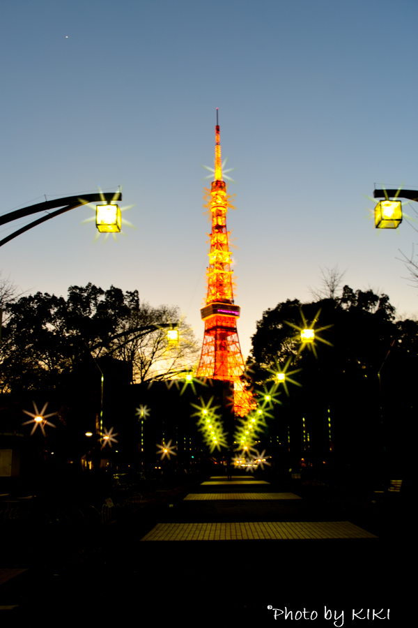 夕焼けと一緒に芝公園で東京タワー撮影