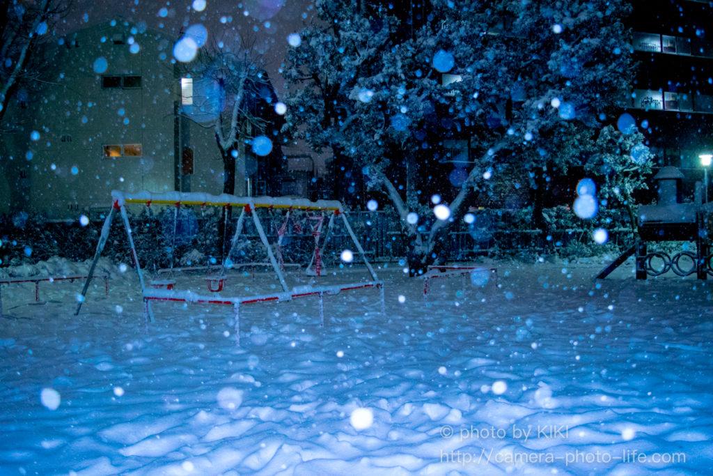 内蔵ストロボ 雪の撮影