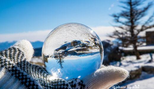水晶玉を使用して雪景色を撮影